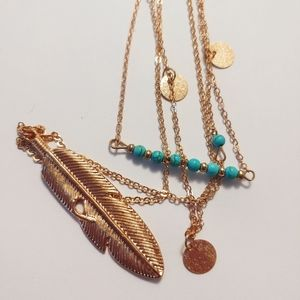 3 Layer Feather Turquoise Necklace